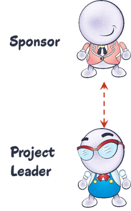 diagram showing non-authority relationship between project leader and sponsor